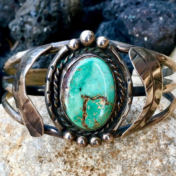 25a2c70d72a Very Vintage Navajo Jewelry | Vvv Silver Green Turquoise Cuff | Poshmark